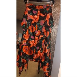 Zara Floral Satin Midi Skirt